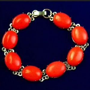Red coral wrapped silver bracelet